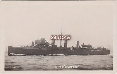 "Royal Navy Real Photo RPPC. HMS ""Sunfish"" Torpedo Boat Destroyer. Rare!  c 1896"
