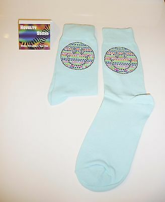 Turquoise Bling Design Socks - Multi coloured smiley face