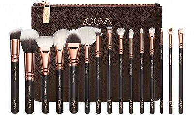 15Pcs Rose Gold Zoeva Makeup Brush Set + Zipper Bag UK Stock