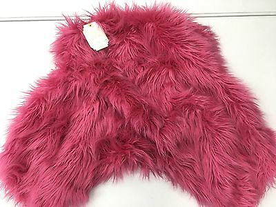 POTTERY BARN TEEN Furrific Faux Fur Lounge Around Pillow Cover, PINK MAGENTA-NEW