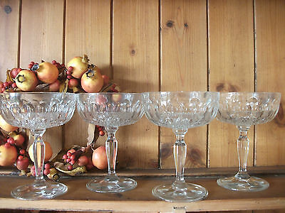 Pressed Glass Champagne Saucers Vintage French 1970s  X 4