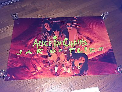 """Alice in Chains """"LOGO/Jar of Flies/Band"""" (Vintage 1994 Poster)Layne Staley"""