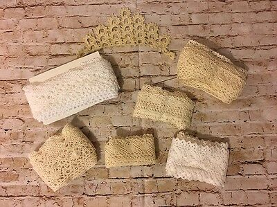 Lot Of 8 Pcs Vintage Crochet Wide Lace Trim White & Ivory (BinM)