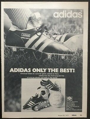 "*1972* A4 Football FOOTBALL BOOT ADVERT picture poster ADIDAS ""Only The Best"""