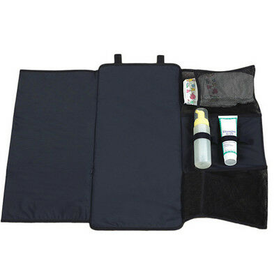 Baby Diaper Nappy Changing Pad Foldable Changing Mat Storage Bag Holder Blk