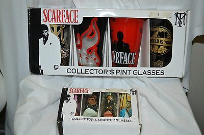 New Scarface Movie Collector Shooter Shot Glasses Al Pacino Whiskey Pint Bar Set