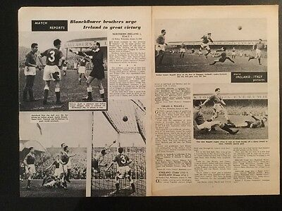 1958 Football World Cup action pictures Report N. IRELAND 2 ITALY 1 (2xA4)