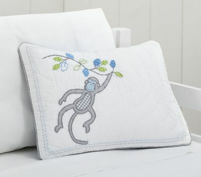 NEW POTTERY BARN KIDS BLUE MONKEY DANIEL NURSERY BEDDING QUILTED SHAM 12x16