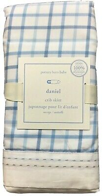 New Pottery Barn Kids Daniel Crib Skirt Dust Ruffle Blue Plaid Windowpane Check