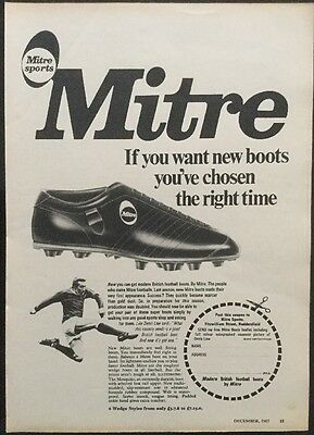 1967 A4 Football picture poster MITRE SPORTS Advertising Football BOOTS