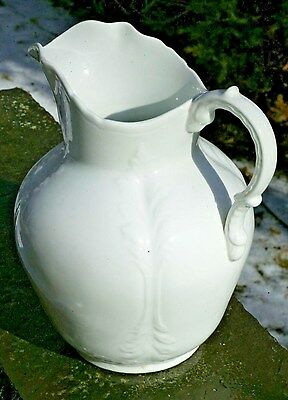 Vintage Clio Acanthus Leaf Embossed White Ironstone Pitcher & Basin Early 1900's