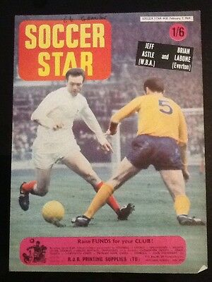 1969 A4 Football action picture/poster JEFF ASTLE West Brom BRIAN LABONE Everton