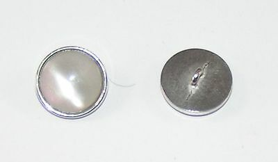 8 Metal Buttons Buttons 17,8mm mother of pearl/silver 07.04/605