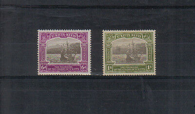 St Kitts Nevis Tercentenary 6d and 1/- mounted mint