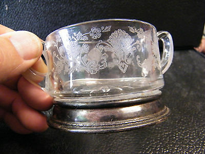 Vintage Sugar Bowl With Sterling Silver Base Etched Open Top