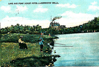 RADNORSHIRE - 1906 Postcard of Lake & Pump House Hotel, Llandrindod Wells, Wales