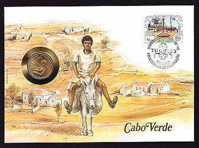 Donkey Rider Numisbrief 1987 Cabo Verde Africa African Stamp Cover with Coin