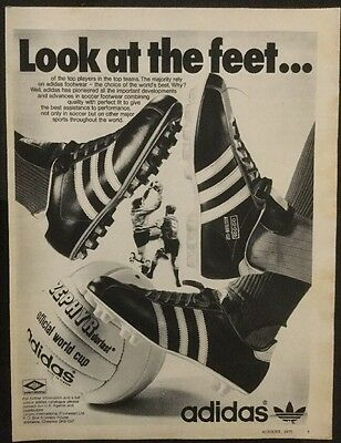 "1973 A4 Football magazine picture poster ADIDAS ADVERT ""Look at the feet"""