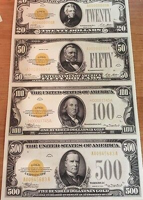 Copy Reproduction 1934 Gold Certificate Uncut US Currency Sheet Paper Money