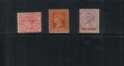 Victoria Three stamps very lightly mounted mint