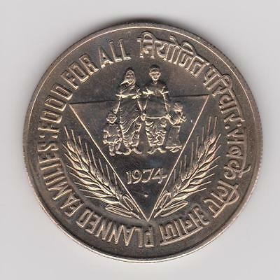 1974 India 10 Rupees Fao Planned Families Food For All Copper Nickel Crown