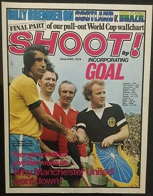 1974 A4 Football cover picture poster BREMNER + article Scotland PIAZZA Brazil