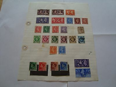 GB Stamps, sheet of mostly George 6th stamps