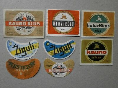 Lithuania-Lot Of Vintage 8 Soviet Period Beer Labels