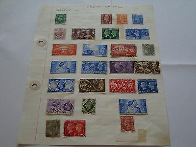 GB Stamps, sheet of George 6th stamps