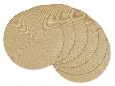 DII Round Braided/Woven, Indoor/Outdoor Placemat/Charger, Set of 6, Natural