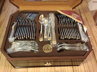 84 Piece Cutlery Set Stainless Steel SILVER/GOLD Frank Moller London in Wood