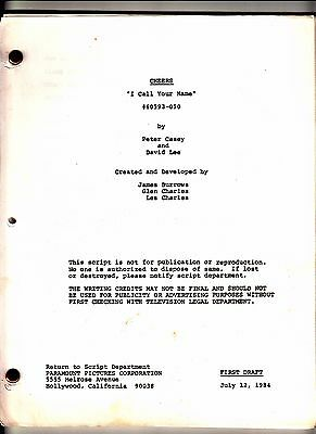 "Vintage Orig Cheers Script ""I Call Your Name""  First Draft Ted Danson July 1984"