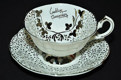 Ridgway Queen Anne Silver Lace Anniversary Teacup & Saucer - Wide Mouth & Chintz