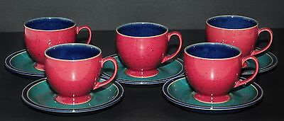 DENBY HARLEQUIN 5x TEA COFFEE CUPS & 5X MATCHING SAUCERS NEW UN-USED