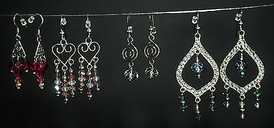 Lot Of  Four Sterling Silver 925 Swarovski Pearl Earring Sets Custom One Of Kind