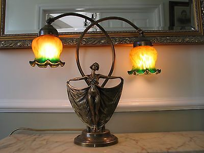 french art nouveau style  lamp with female figure