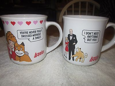 "2 Vintage Little Orphan Annie Coffee Mugs 1982 Applause ""Daddy"" Warbucks"