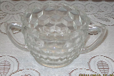 Depression Glass Jeanette Cube Clear Glass Sugar Bowl 1920's-1930's