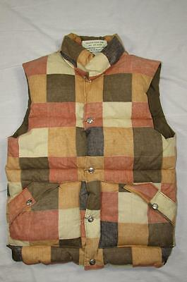 Vtg 70s Sundance Products Goose Down Puffer Vest Sz XS Puffy Patchwork Pattern