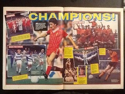A3 Football CHAMPIONS picture/poster LIVERPOOL DUNDEE UTD QPR ST JOHNSTONE 82/83