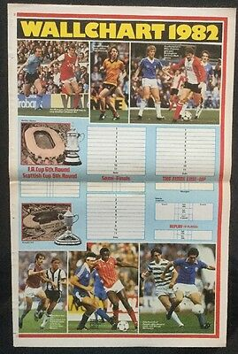 A3 Football picture poster UNMARKED SHOOT FA + SCOTTISH CUP WALLCHART 1982