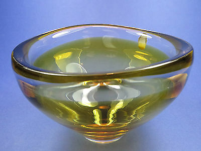 Fabulous Retro Sea Glasbruk ~ Kosta Boda Studio Art Glass ~ Amber Cased Bowl