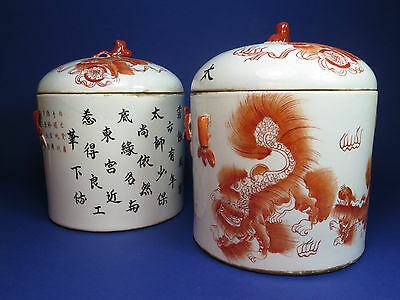 Pair Of Vintage Chinese Pots & Covers Iron Red Foo Dog Guardian Lion Decoration