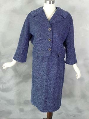 Vintage Jackie Suit Skirt Jacket M L Blue Black Boucle Wool 1960s Garfinckel