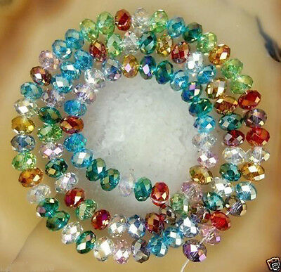 100pcs colored Crystal Gemstone Loose Beads 6x4mm Mixed Colors
