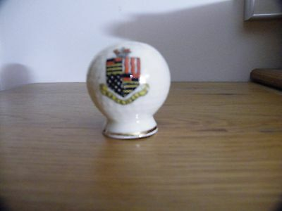 Vintage crested china Golf Ball Pepper pot. unmarked BAKEWELL