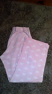 Ladies PJ Pyjama Bottoms Size 8 Small Pink and White Love Hearts