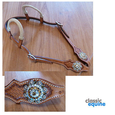 Western Headstall 2 Ear with Rawhide and Crystal Conchos