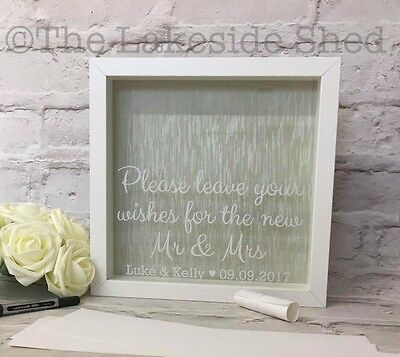 Wedding Guestbook Drop Box Memory Frame Please leave your wishes Guest Book Mr