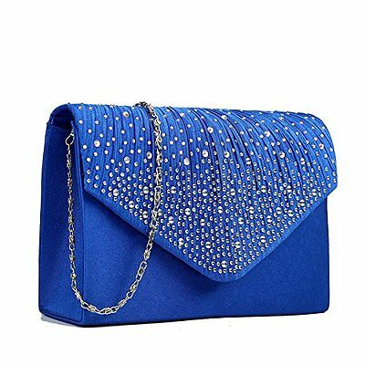 Miss Lulu Ladies Diamante Clutch Evening Bridal Wedding Bag Handbag (Navy)